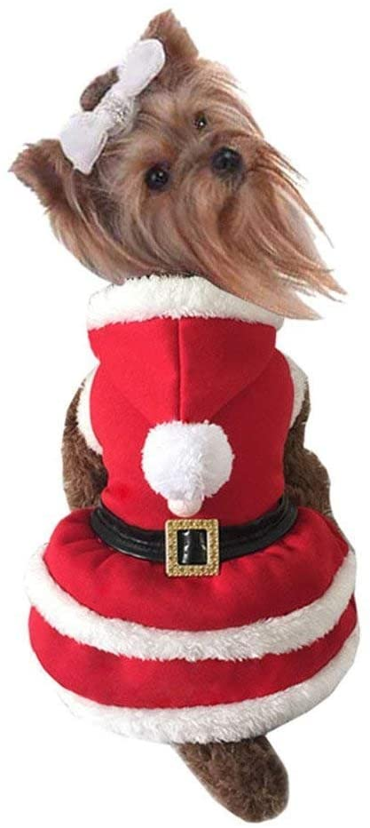 Mogoko Dog Cat Christmas Costume Santa Claus Cosplay Dress, Puppy Pet Fleece Hoodie Warm Clothes for Winter Cold Weather
