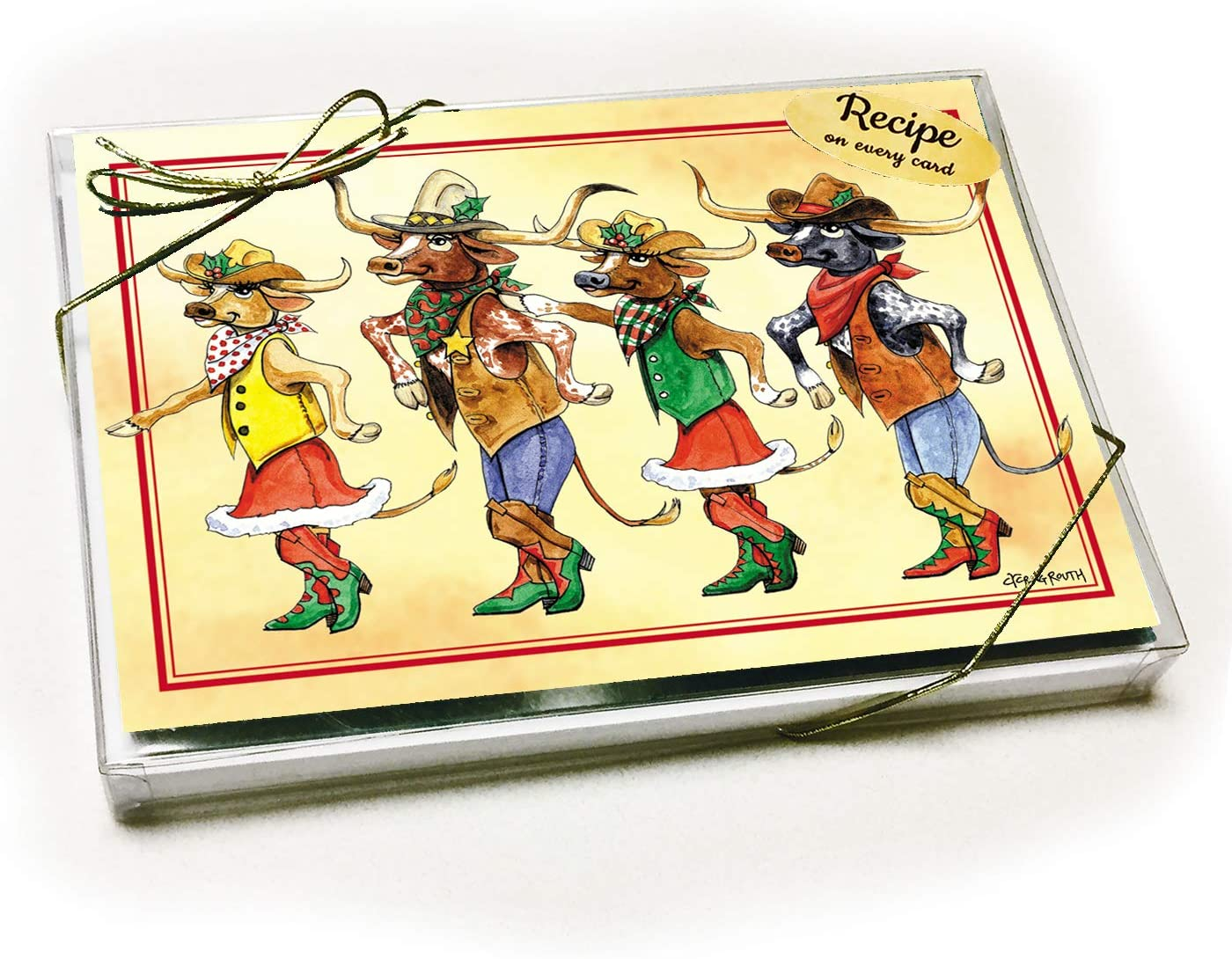 Texas Christmas Card with recipe - Longhorn Line Dance