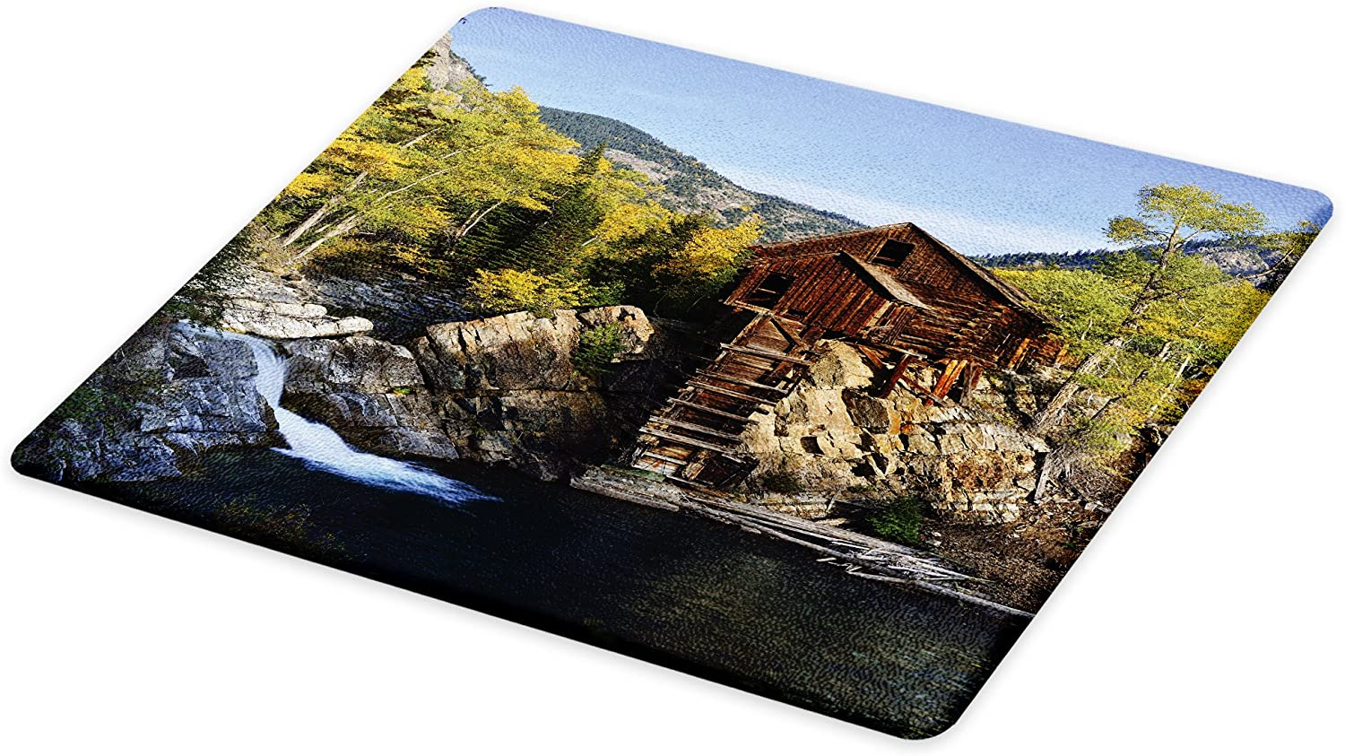 Lunarable Landscape Cutting Board, Secluded Wooden Cabin in Woods River Waterfall Forest Mill Mountain Pine Trees, Decorative Tempered Glass Cutting and Serving Board, Large Size, Multicolor