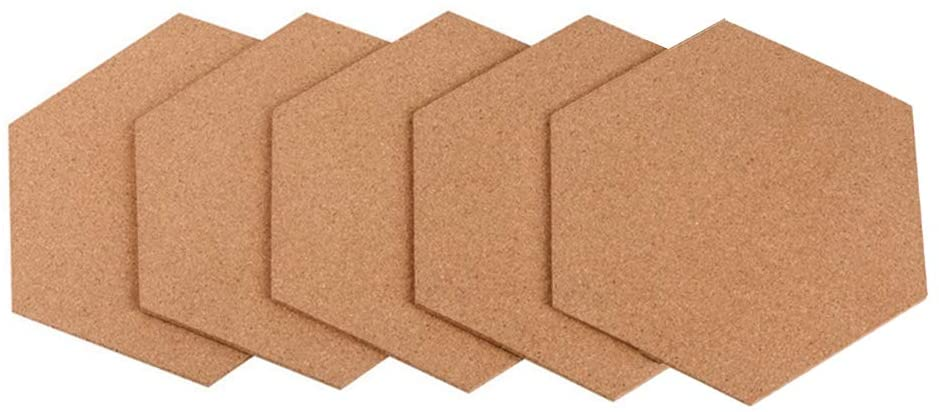 Yardwe 5PCS Cork Board Set Self Adhesive Board Hexagonal Wall Message Board for Home Office Wall Memo Notice Painting Pictures DIY and More