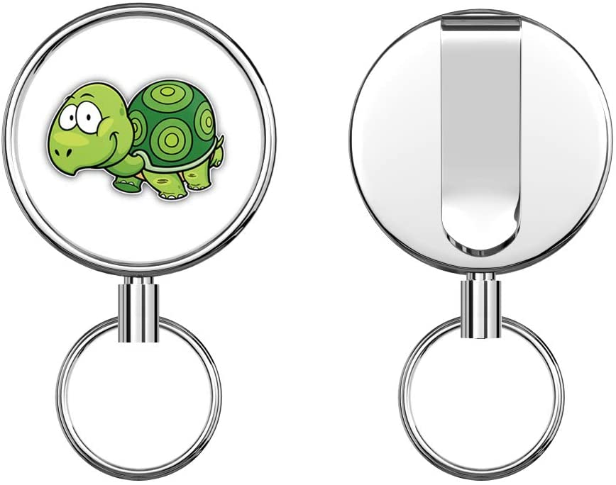 Cute Turtle Retractable Badge Holder Reel Metal ID Badge Holder with Belt Clip Key Ring for Name Card Keychain