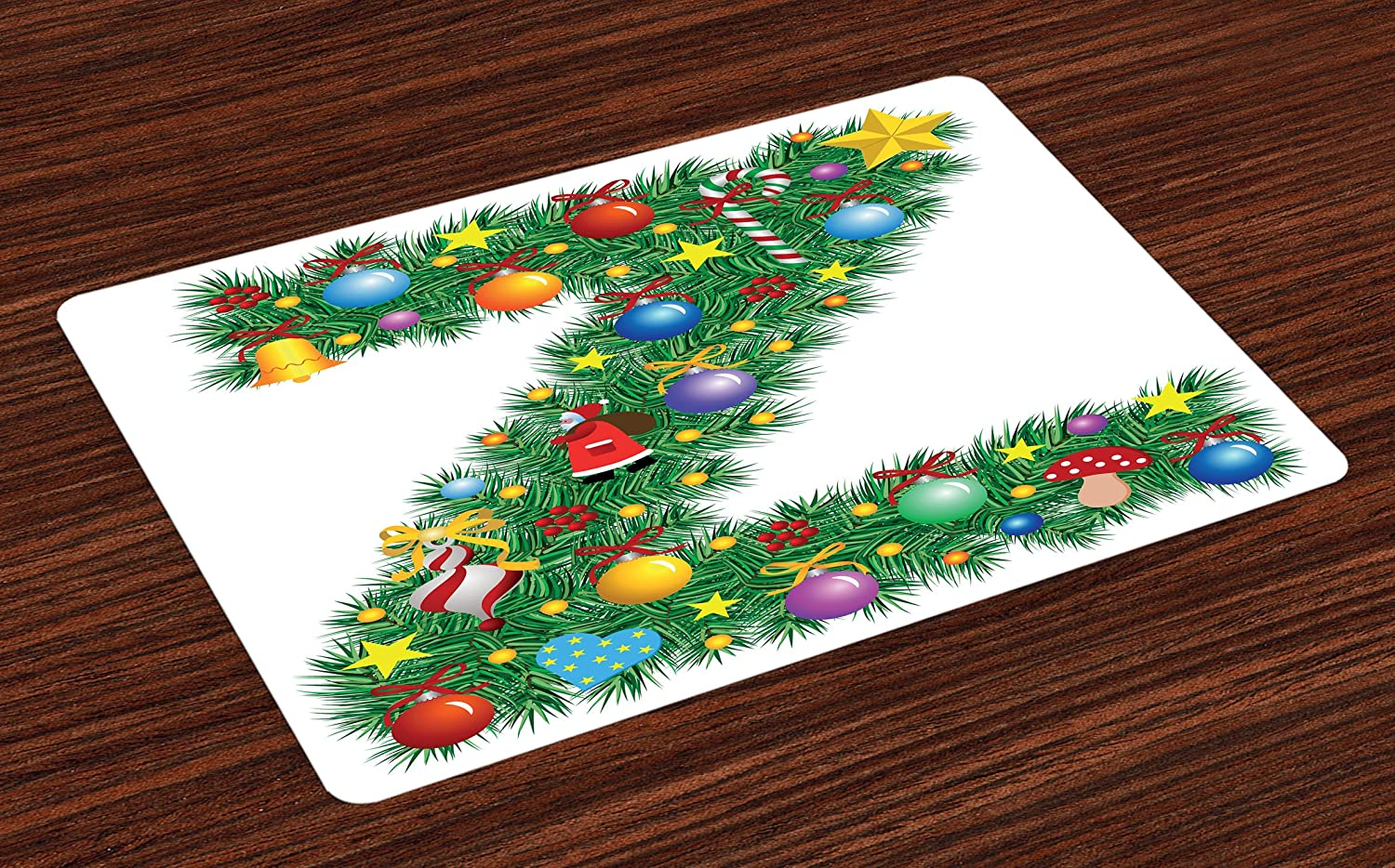 Ambesonne Letter Z Place Mats Set of 4, Traditional Themed Font Design Z with Colorful Ornaments Christmas Santa Claus, Washable Fabric Placemats for Dining Room Kitchen Table Decor, Multicolor