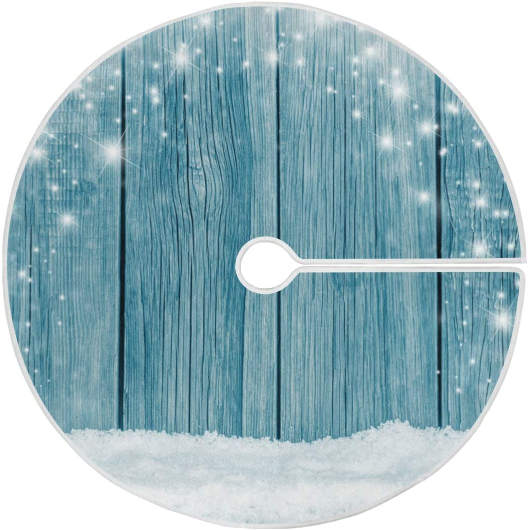 ALAZA White Snow Christmas Tree Skirt Ornament 48inch Diameter Christmas Decoration New Year Party Supply(915p)