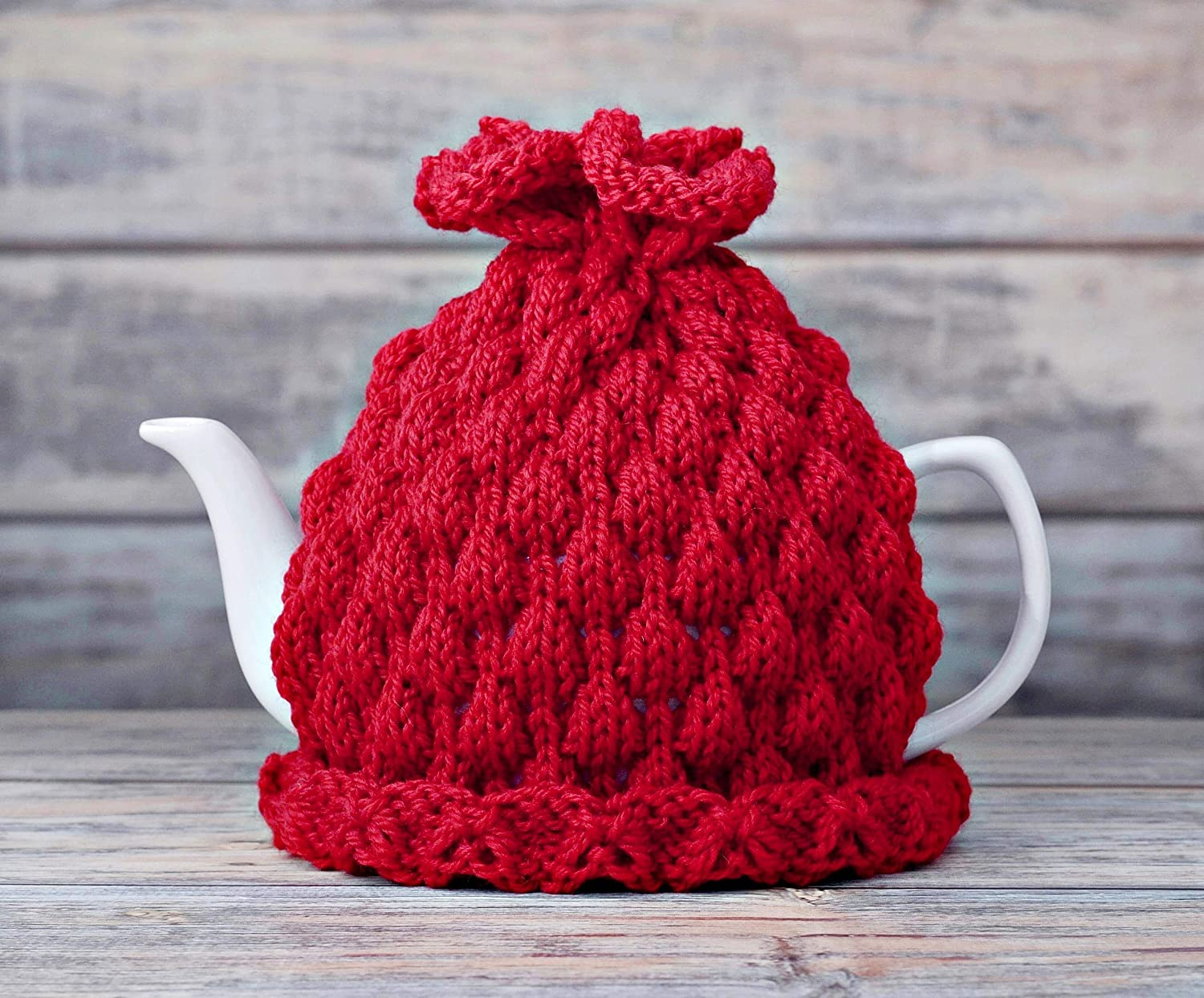 Red Tea Pot Cozy Teapot Cosy Kitchen Decor Cover Knitted Warmer Cosie