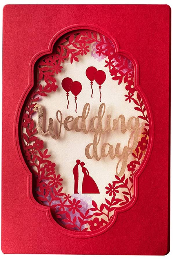 KUCHYNEE 20PCS Elegant Red Laser Cut Floral Lace Wedding Invitations Cards with Bride & Groom Cardstock for Birthday Engagement Birthday Fancy Party Invites