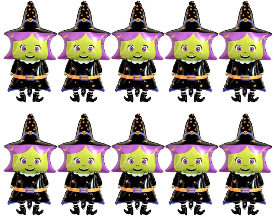 TomaiBaby 10pcs Halloween Witch Balloons Aluminum Foil Mylar Balloons Party Hanging Decoration for Birthday Baby Shower Happy Halloween