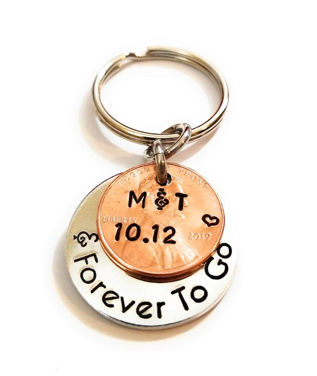 Personalized Penny Year and Forever To Go 1950-2020 Lucky Penny Key Chain Anniversary Date