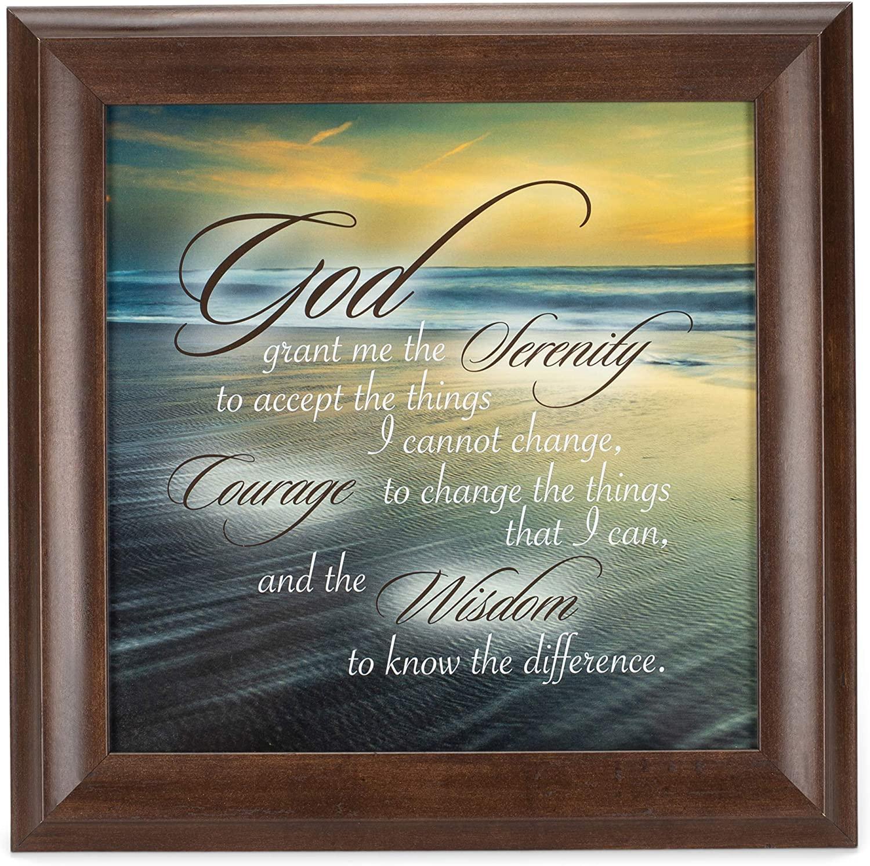 Elanze Designs Serenity Prayer Ocean Waves Verona Mocha Wood Finish 12 x 12 Framed Art Wall Plaque
