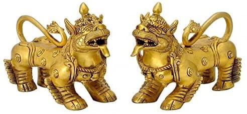Gangesindia Chinese Feng Shui Lion Pair in Brass