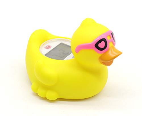 Baby Bathtub Thermometer, Infant Baby Bath Floating Duck Temperature Thermometer with Temperature Safety Indicator (Duck with red Glasses)
