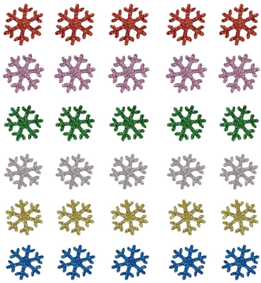 BESTOYARD 60pcs Christmas Snowflake Confetti Glitter Snowflake Patch Embellishments Xmas DIY Craft Accessories for Holiday Party Favor