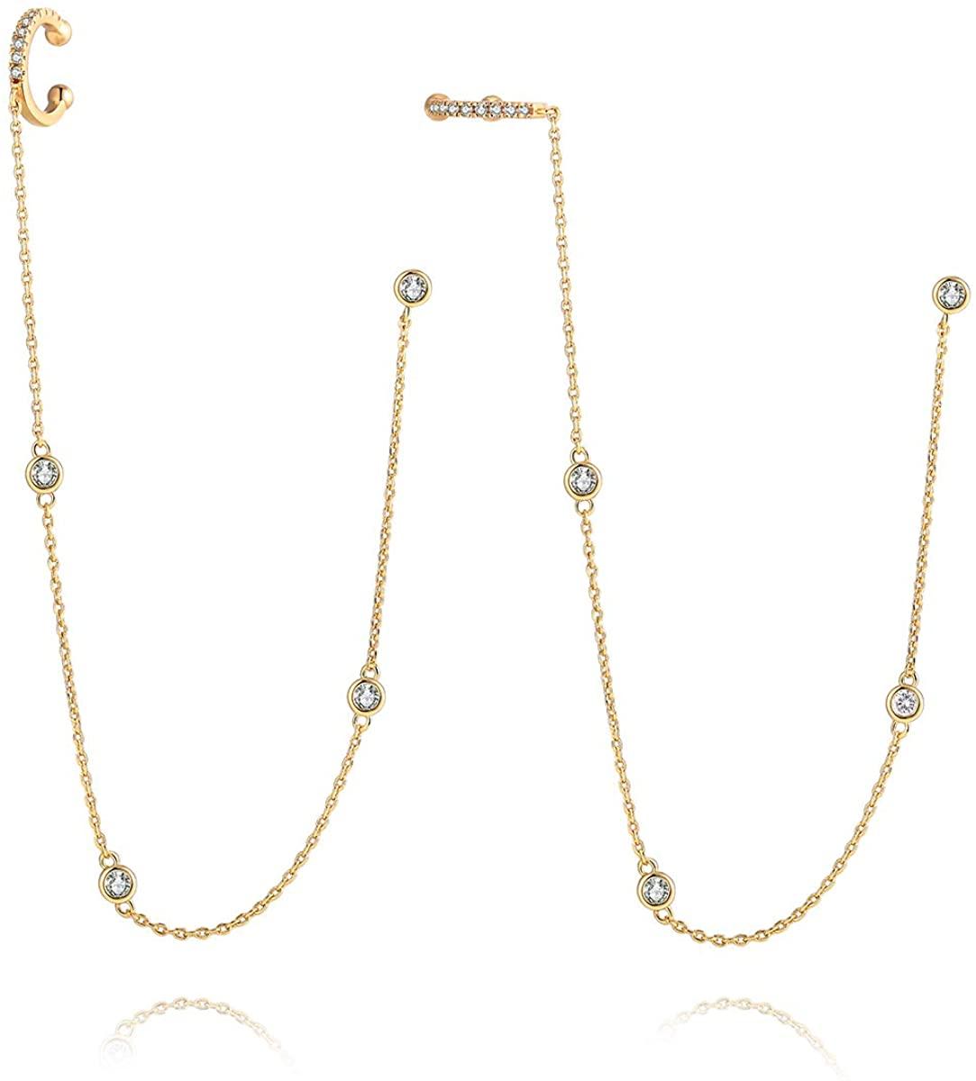 LAZLUVU Honey Bee Studs Earrings Cartilage Ear Cuff Little Bumblebee Pendant Necklace Jewelry for Women Girls