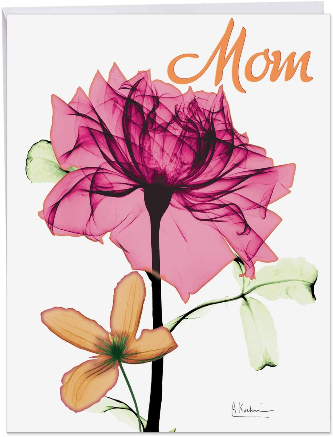 The Best Card Company - Jumbo Flower Mothers Day Card (8.5 x 11 Inch) - Womens Floral Greeting Card for Mom - Inspiring Floral Mix J6220BMDG