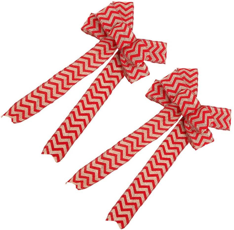 IMIKEYA 2pcs Burlap Bowknot Tree Pendant Wave Pattern Christmas Bow Xmas Tree Hanging Ornament for New Year Christmas Party
