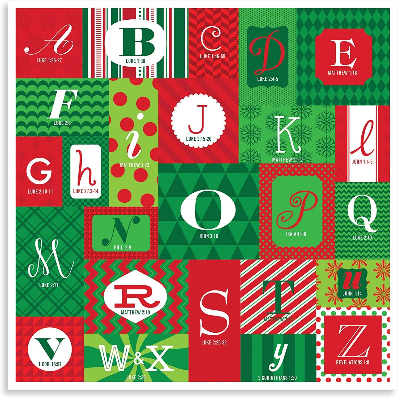 Lighthouse Christian Products Holiday Abcs Festive Season 12 x 12 Cardstock Paper Advent Calendar