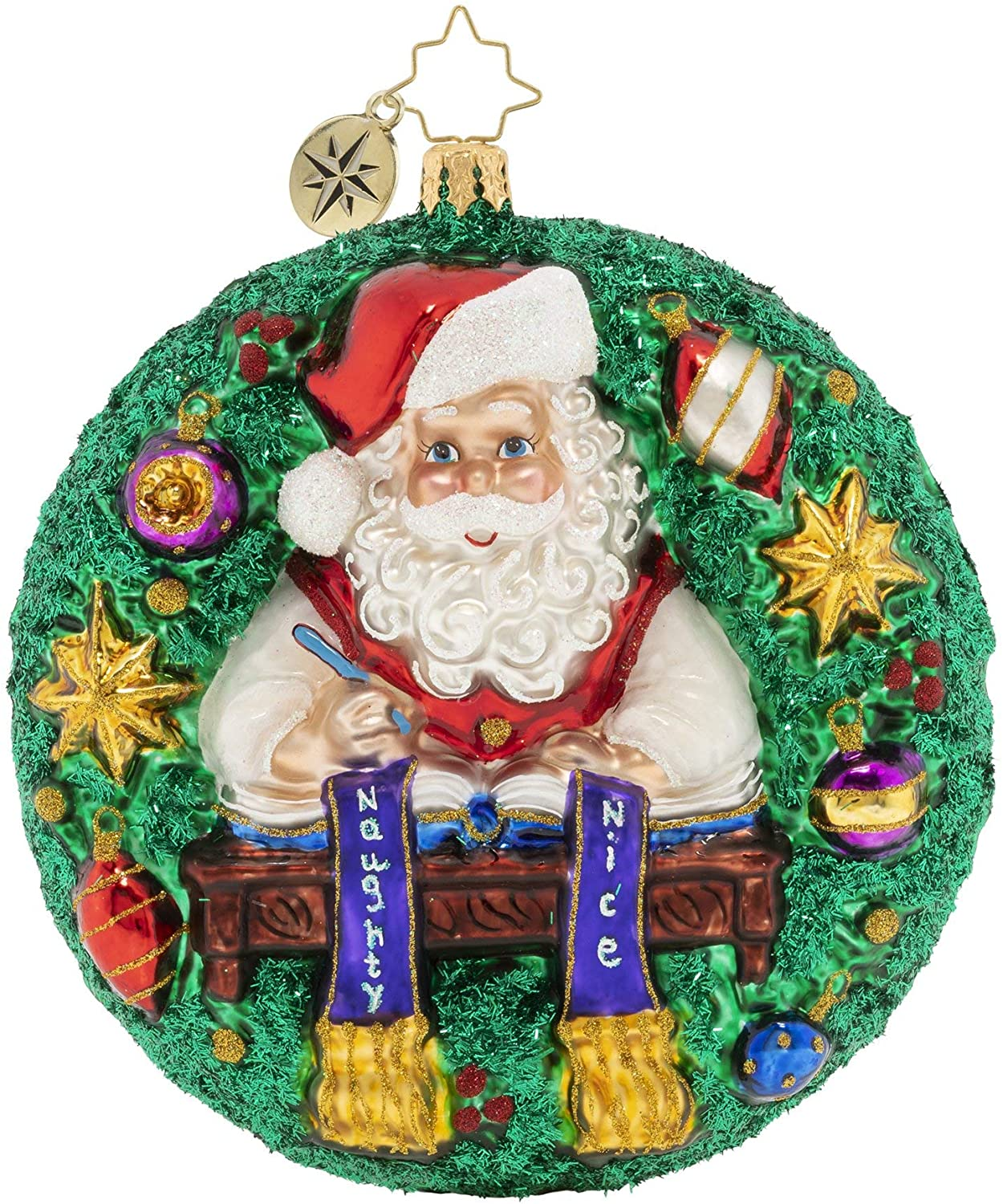Christopher Radko Hand-Crafted European Glass Christmas Decorative Figural Ornament, Naughty or Nice Wreath