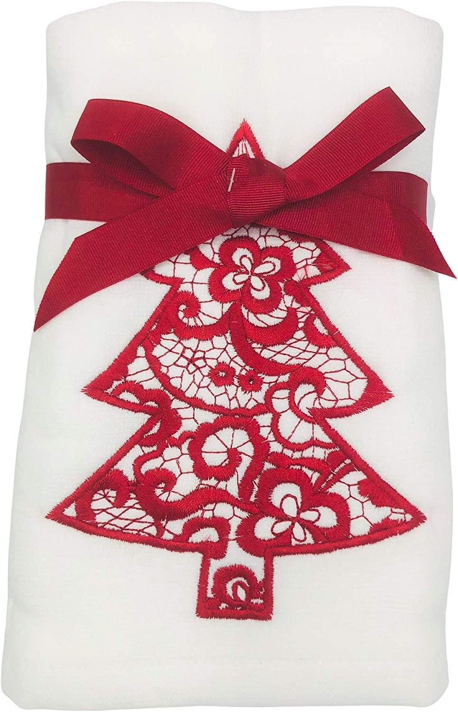 Sophia Set of 2 Embroidered Christmas Tree Hand Towels for Christmas Bathroom & Home Decor