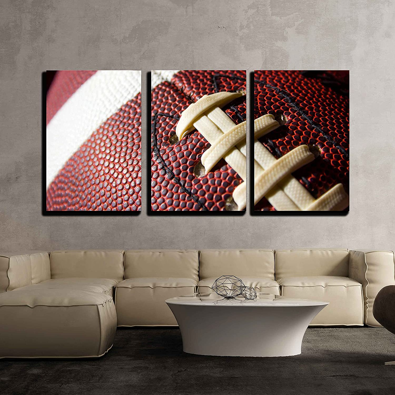 wall26 - 3 Piece Canvas Wall Art - Football Ball - Modern Home Art Stretched and Framed Ready to Hang - 24x36x3 Panels
