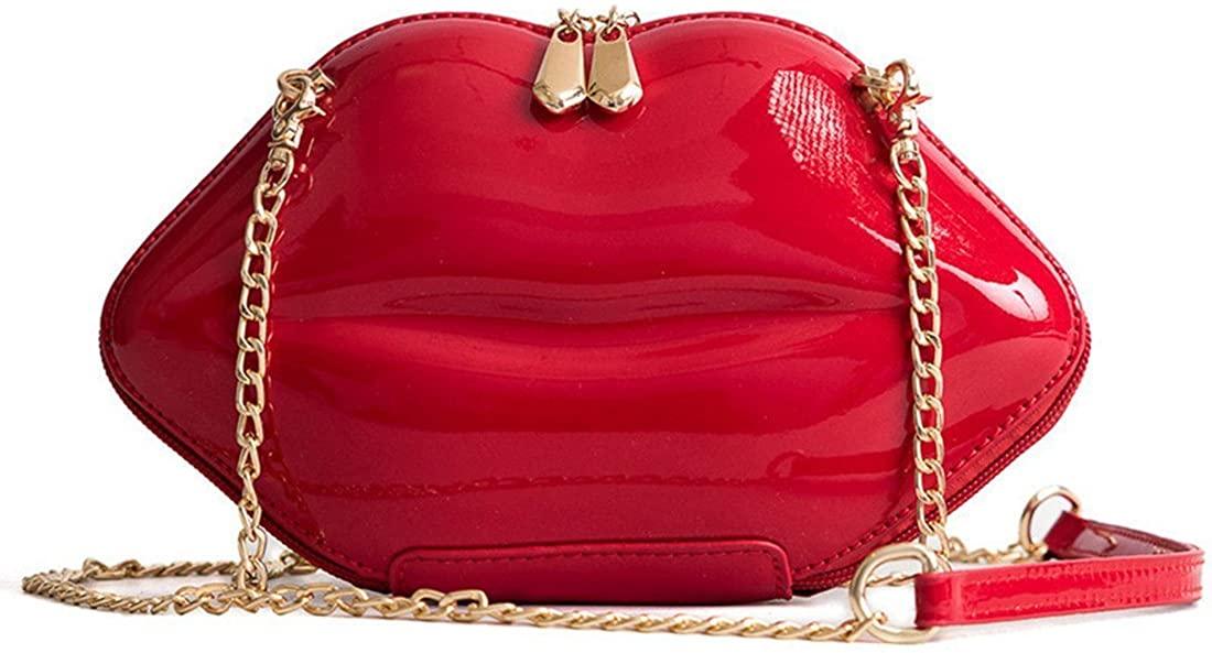 Women Leather Lips-shaped Evening Clutch Purses Crossbody Bags Vintage Banquet Handbag