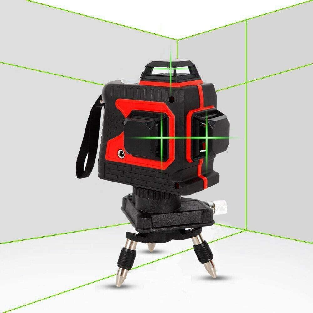 DONNGYZ 12 Lines 3D Green/Red láser Level Self-Leveling 360° láser Beam Line Measure Tool 360°Rotary Waterproof(US Stock) (Red)