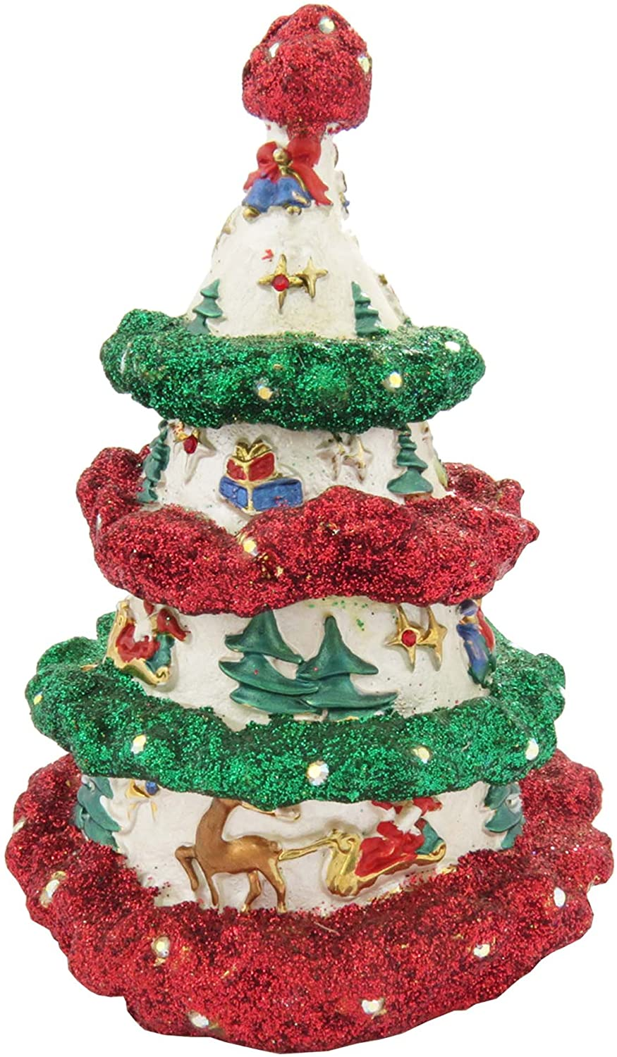 Red and Green Decorative Christmas Tree Figurine Trinket Box Enameled with Swarovski Elements Crystals