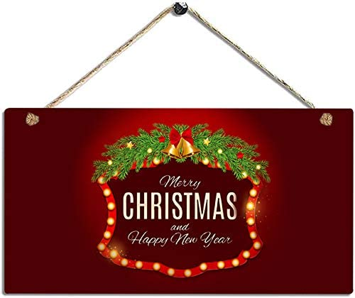 Merry Christmas and Happy New Year - Front Door Christmas Decor Wall Hanging Wood Plaque Christmas Decorations for Home - Winter Decorative Wall Art 5.5X11.4 in
