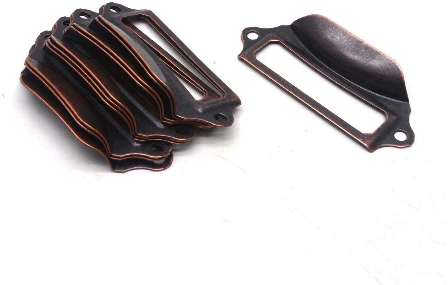 Antrader 10PCS Antique Iron 2-3/4 Inch x 1-1/5 Inch Tag Label Card Holder Office Drawer Pull Handle, Copper Tone