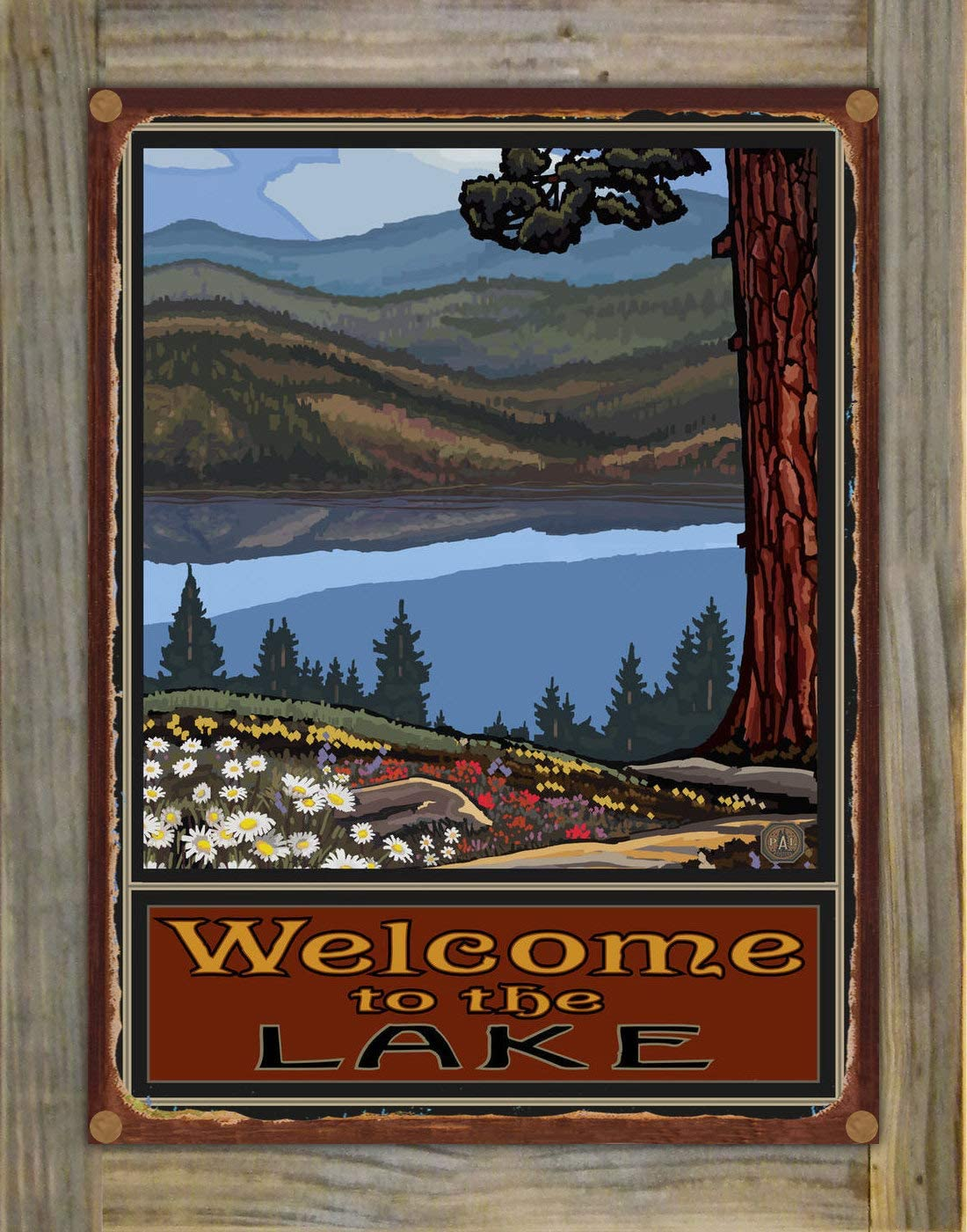 Northwest Art Mall Welcome to The Lake Lake Trails Big Hills Rustic Metal Print on Reclaimed Barn Wood from Original Travel Artwork by Artist Paul A. Lanquist 9 x 12