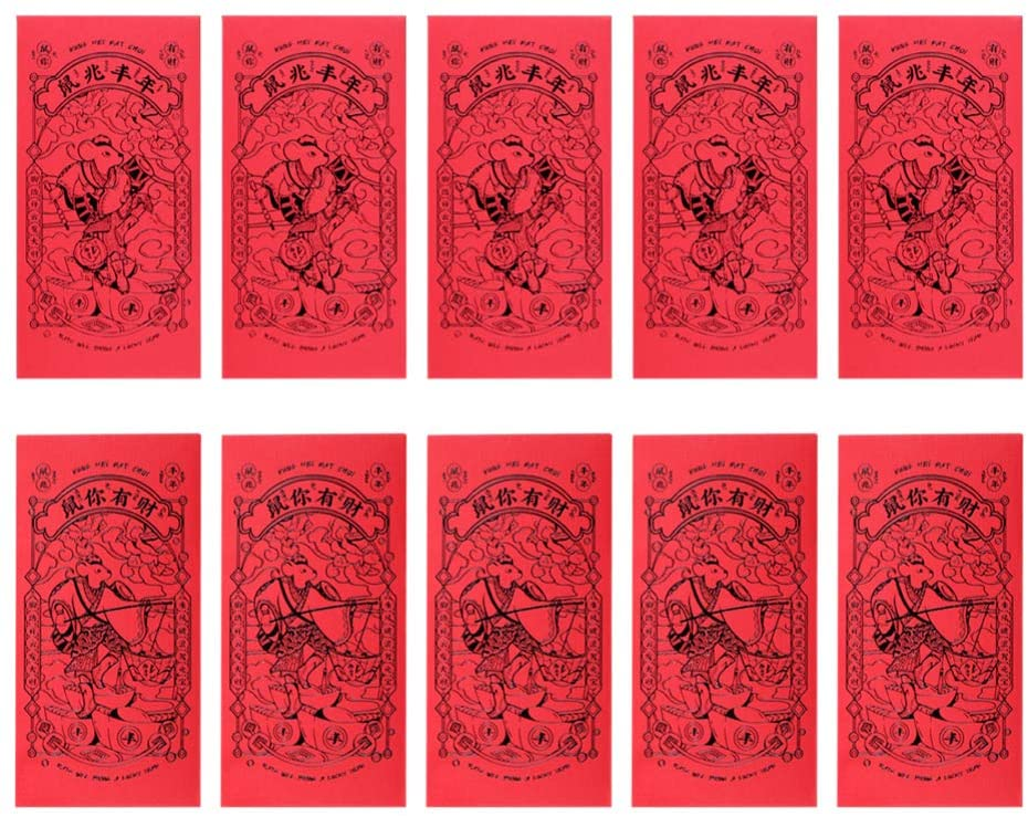 NUOBESTY 10Pcs Red Envelopes 2020 Chinese New Year Envelopes Mouse Year Lucky Money Bags for Spring Festival Party Wedding Graduation Birthday(Black)