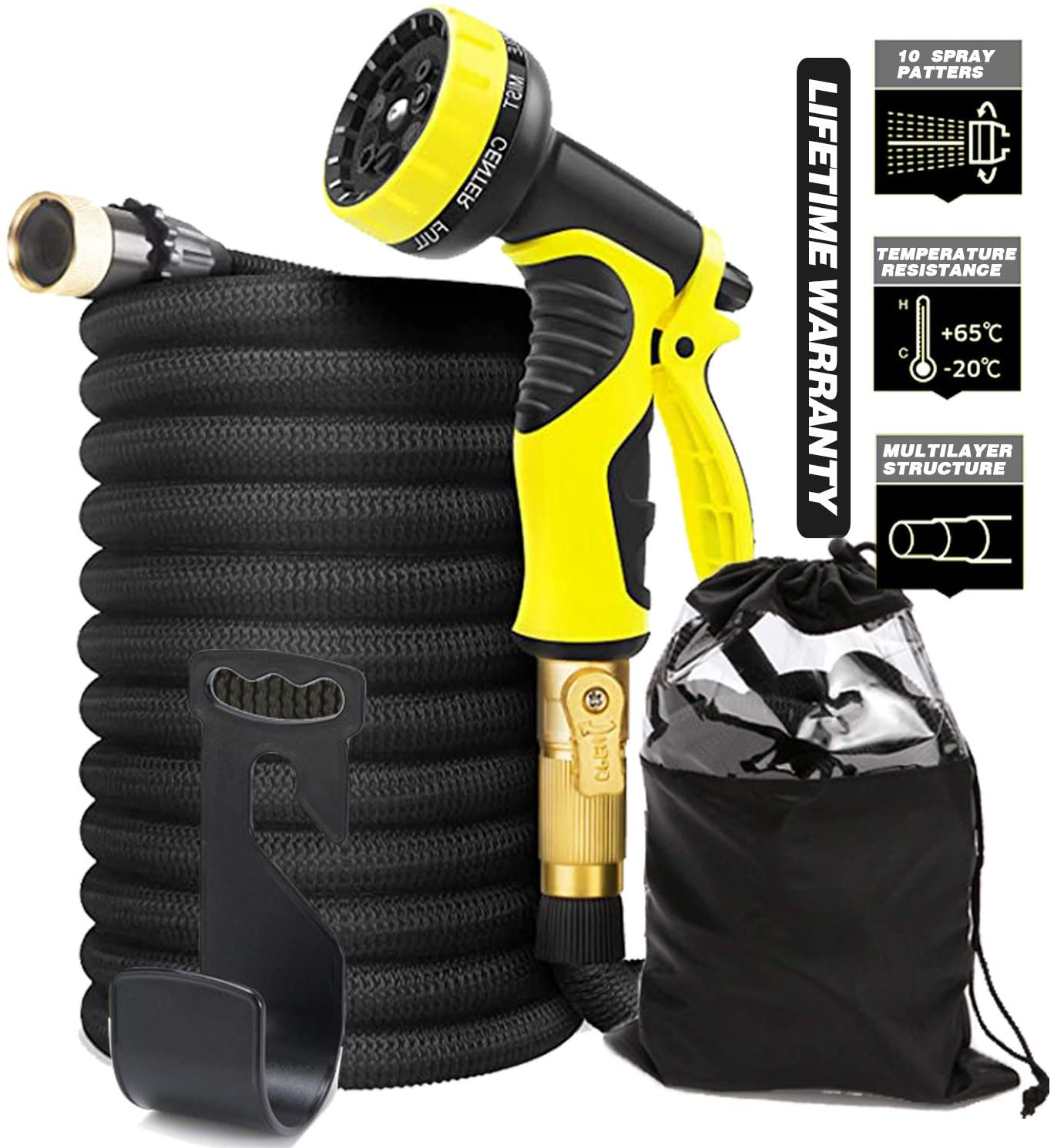 KIRIOUL 50 FT Lightweight Expandable Garden Hose Flexible Water Hose with Durable 3-Layers Latex and 10 Function Nozzle, No-Rust Brass Connectors, Leak Proof, Durable, Best for Watering/Washing