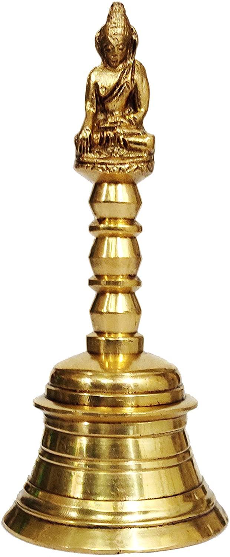 Purpledip Handheld Brass Bell: Lord Buddha (12047)