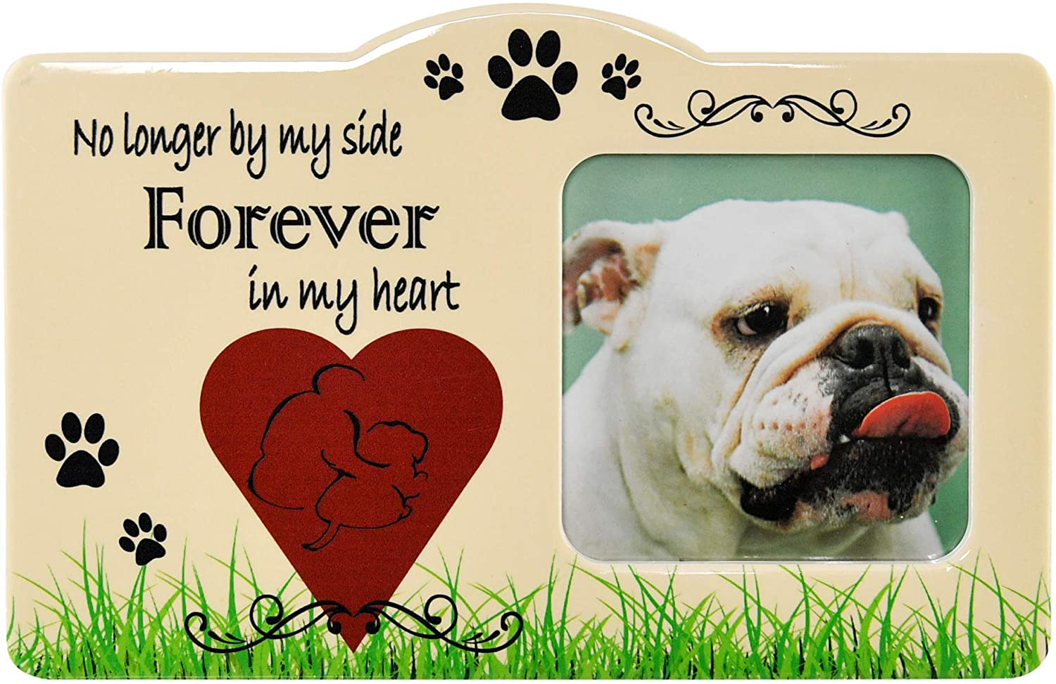 """Home-X Pet Memorial Frame-No Longer by My Side Forever in My Heart-Remembrance Picture Frame, Sympathy for Loss of Dog-Fits Standard 4x6"""" Photograph"""