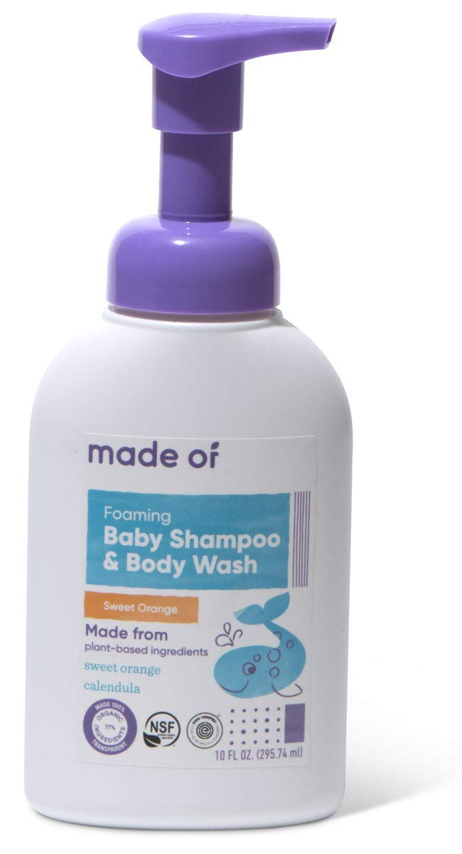 Organic Baby Wash and Shampoo Foaming by MADE OF - No Fragrance - For Sensitive Skin and Baby Eczema Wash - NSF Organic and EWG - Made in USA - 10oz (Mild Sweet Orange, 1-Pack)