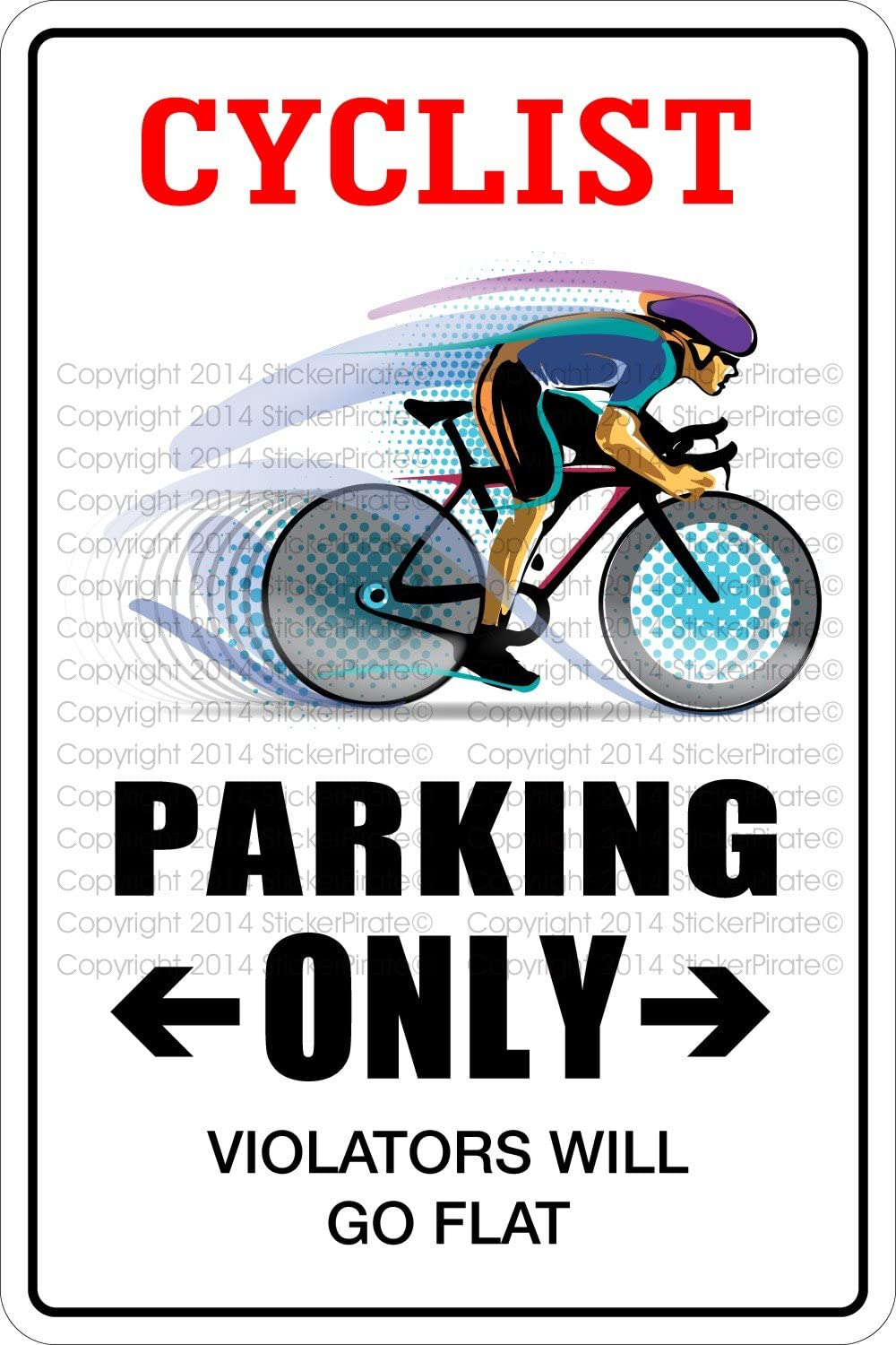 StickerPirate Cyclist Parking Only 8
