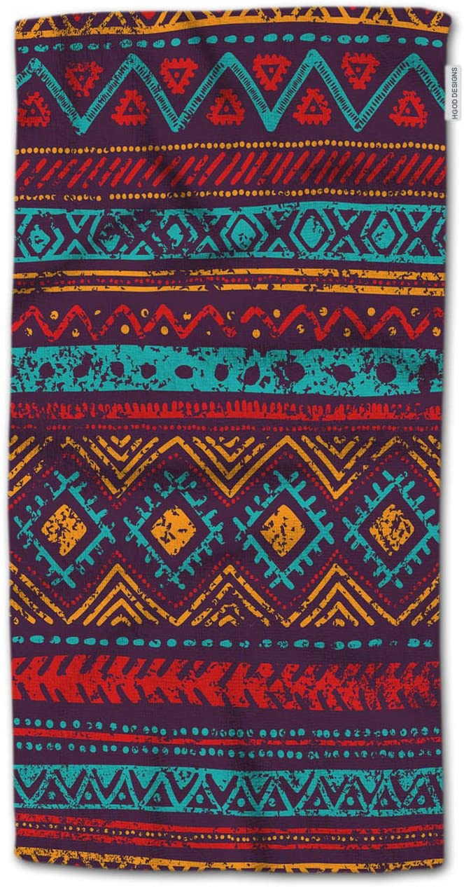 HGOD DESIGNS Hand Towel Tribal,Vintage Ethnic and Tribal Motifs Blue Orange Red and Purple Colors Hand Towel Best for Bathroom Kitchen Bath and Hand Towels 30