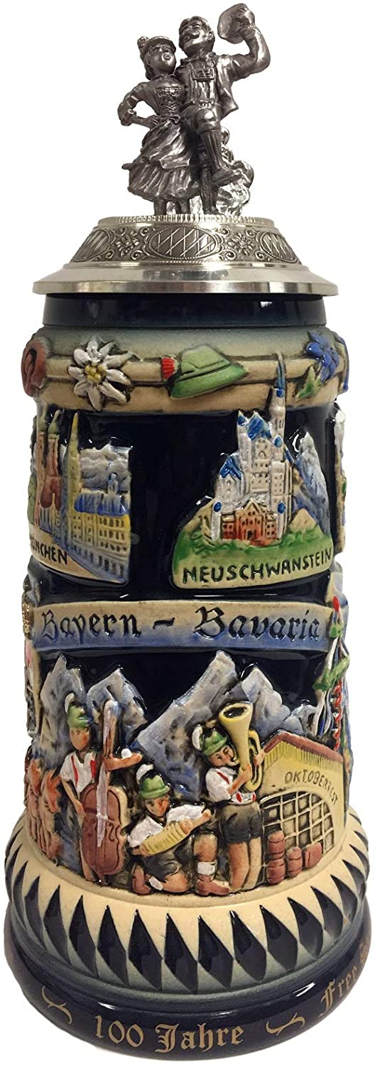 100 Years of Bavaria with Dancers Lid Gift Boxed LE German Beer Stein .75 L
