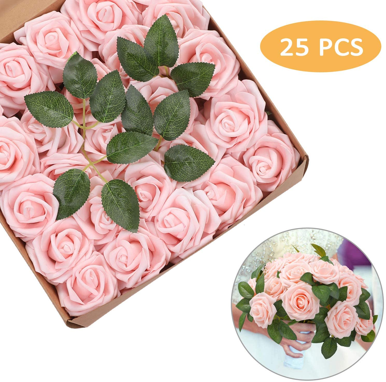 Artificial Flowers Roses 25pcs Red Roses Wedding Decoration Real Looking Fake Roses w/Stem for DIY Wedding Bouquets Centerpieces Arrangements Party Baby Showers Home Decorations (Pink, 25 pcs)
