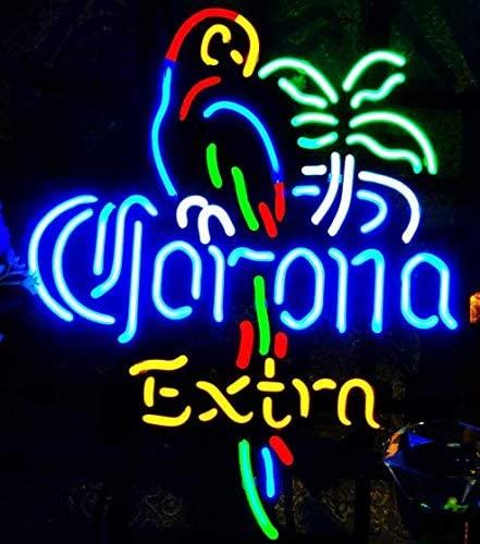 "XPGOODUSA- Corona Parrot Extra Neon Sign-17""×13"" for Home Bedroom Garage Decor Wall Light, Striking Neon Sign for Bar Pub Hotel Man Cave Recreationa"