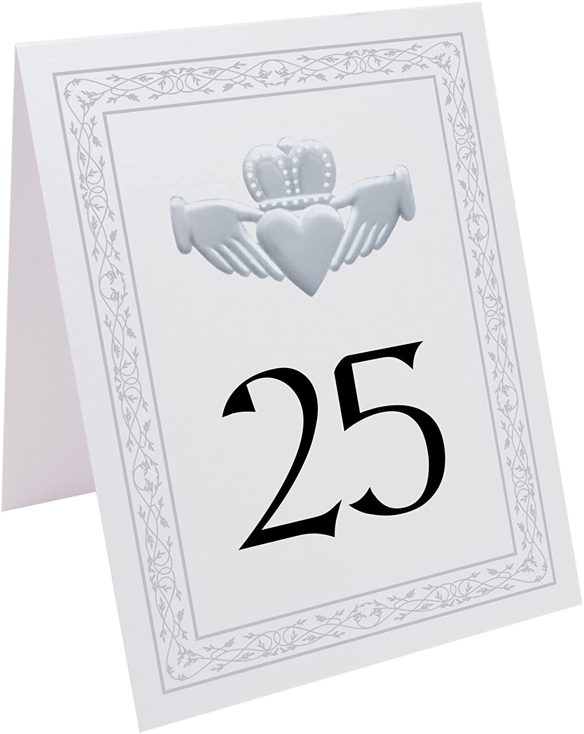 Documents and Designs Silver Claddagh Table Numbers, 1-10, Perfect for a Wedding, Party, Restaurant, or Special Event
