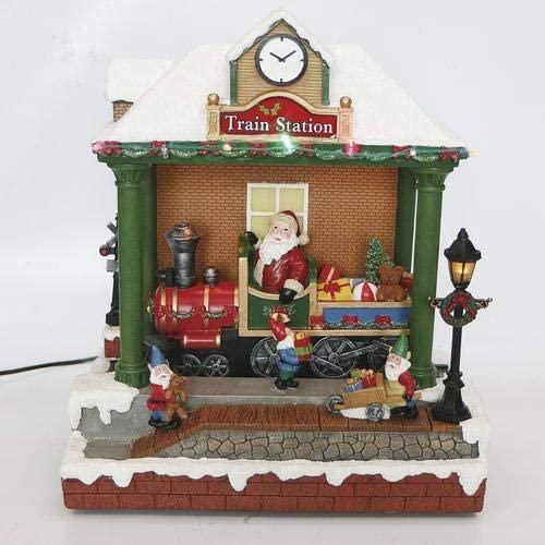 Enchanted Forest Christmas Train Station Prelit Village Building Animated Musical Santa Claus Carols