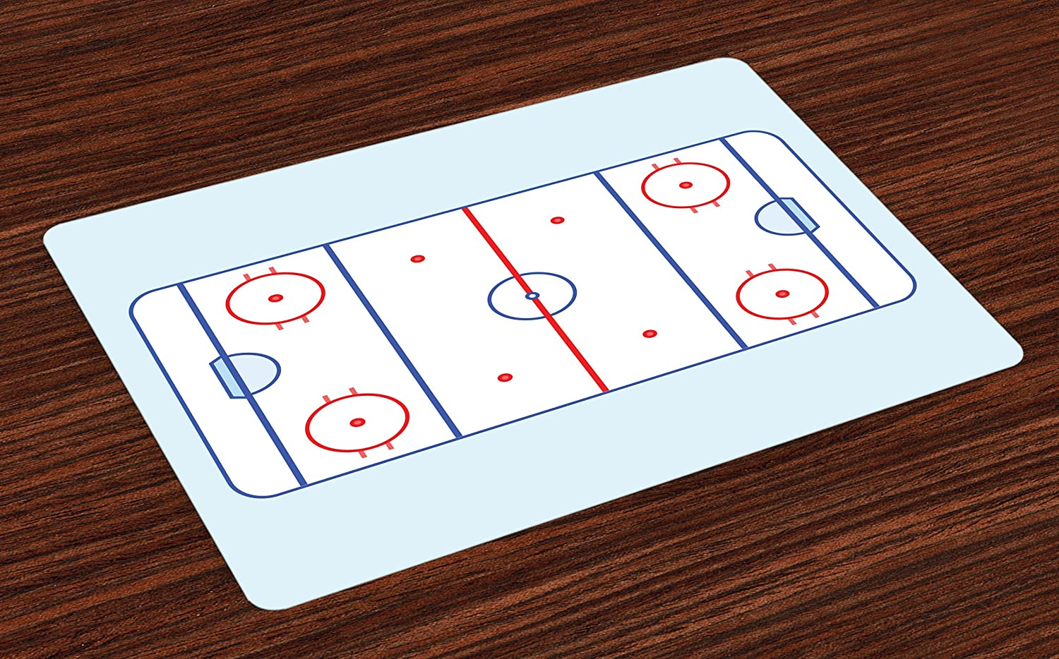 Ambesonne Hockey Place Mats Set of 4, Ice Hockey Field in Blue Tones and Red Graphic Outline for Sport Events, Washable Fabric Placemats for Dining Room Kitchen Table Decor, Blue Red Pale Blue