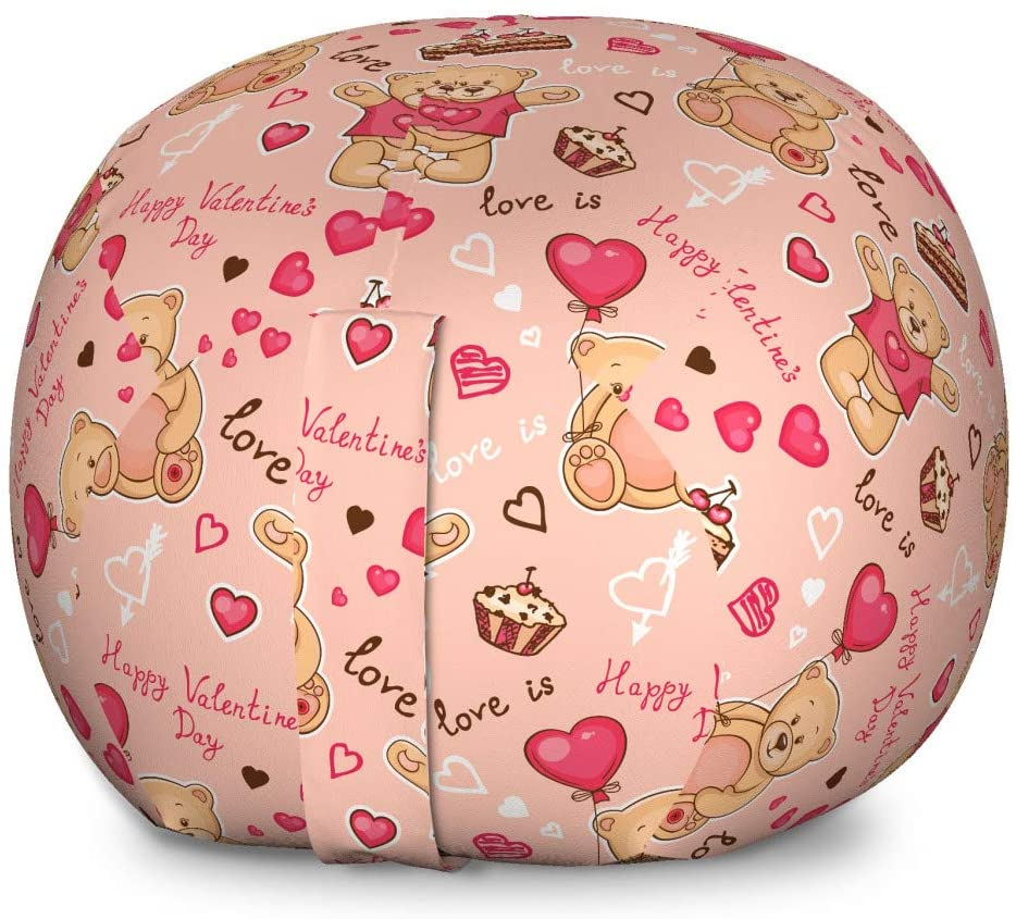 Ambesonne Valentines Storage Toy Bag Chair, Teddy Bears Celebrating Your Happy Valentines Day Cakes Balloons, Stuffed Animal Organizer Washable Bag for Kids, Large Size, Coral Brown Peach