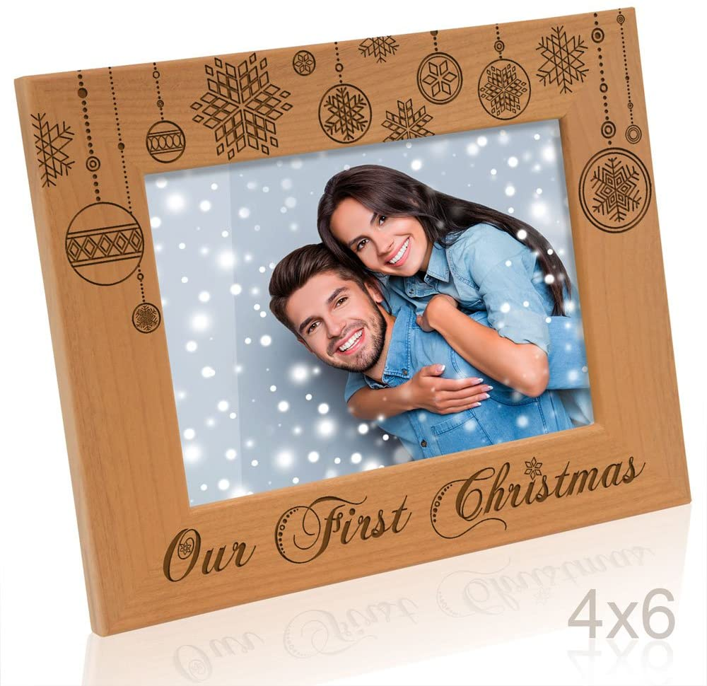 KATE POSH - Our First Christmas Engraved Natural Wood Picture Frame - First Christmas Together Gifts, First Christmas as Husband and Wife, Gifts for Newlyweds, for Couples (4x6-Horizontal)