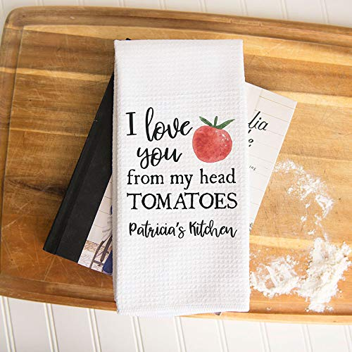 Custom Love You From My Head To My Tomatoes Waffle Weave Dish Towel | Personalized Kitchen Towel | Minimalist Decor | Personalized Dish Towel | Modern Kitchen Towel | Summer Decor