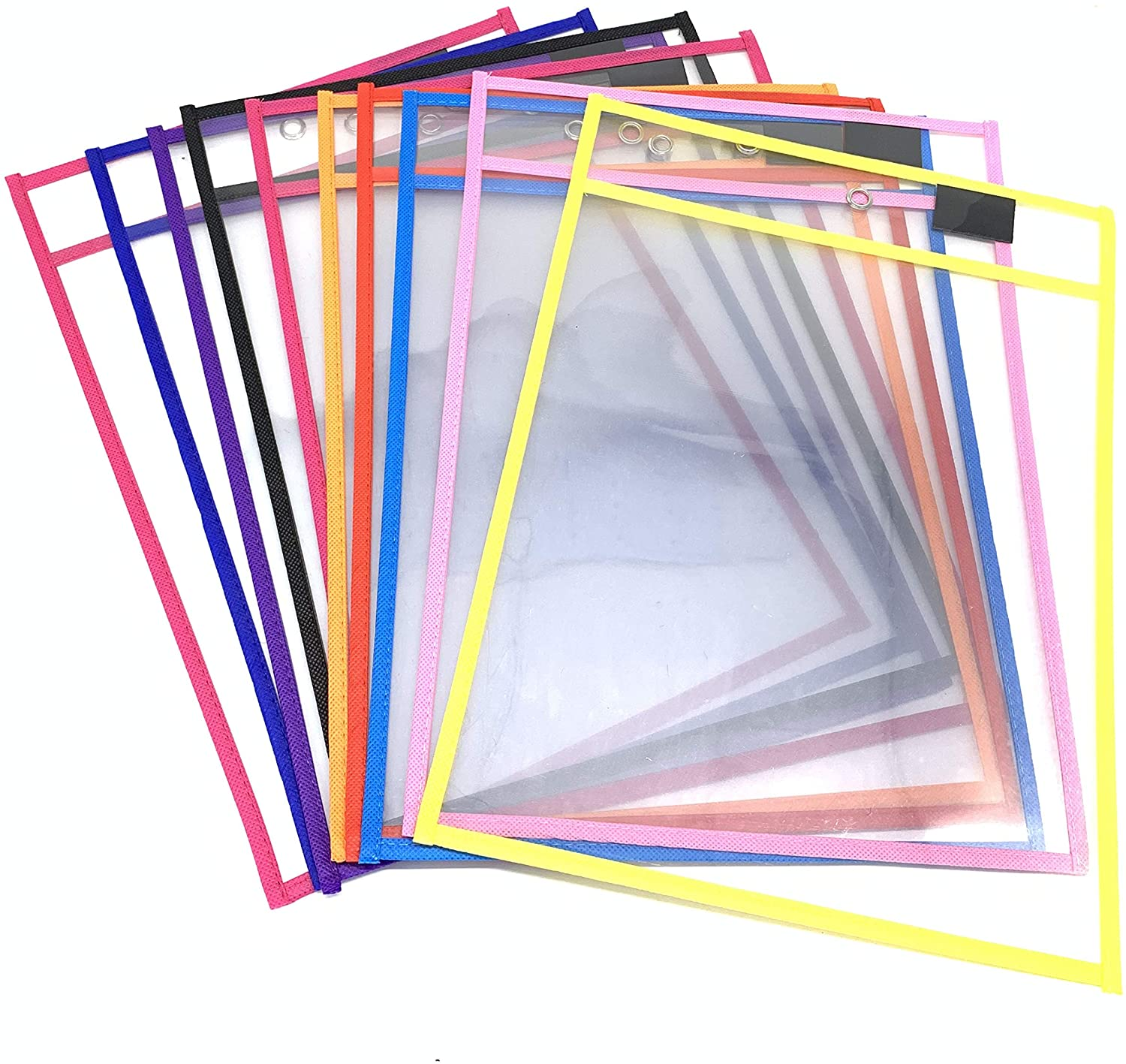 10 Pack Dry Erase Pockets, Reusable Dry Erase Pockets,Clear Durable Plastic Sleeves for Classroom Organization, Teacher and School Supplies,Assorted Colors10.5