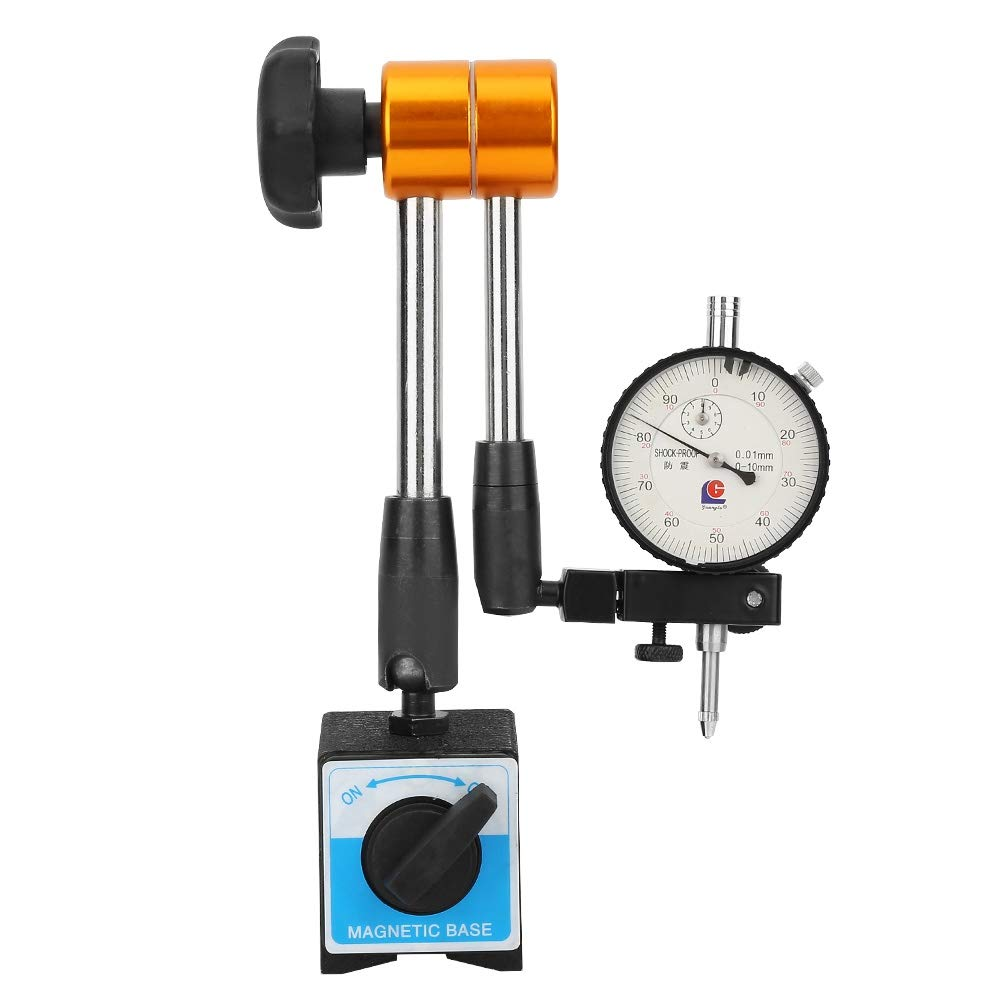 Magnetic Base Holder, Max 380mm Armspan Multi-Directional Angle Flexible Base Holder Stand + 0.01mm x 10mm Dial Gauge with Fine Adjustment Clamp, Aluminum Alloy Indicator Holder