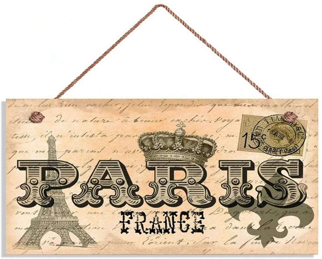 AJHERO Paris France Sign, Vintage Postcard Style, 6 x 12 Sign, Travel Decor, Houewarming Gift, Signs(QS-W138)