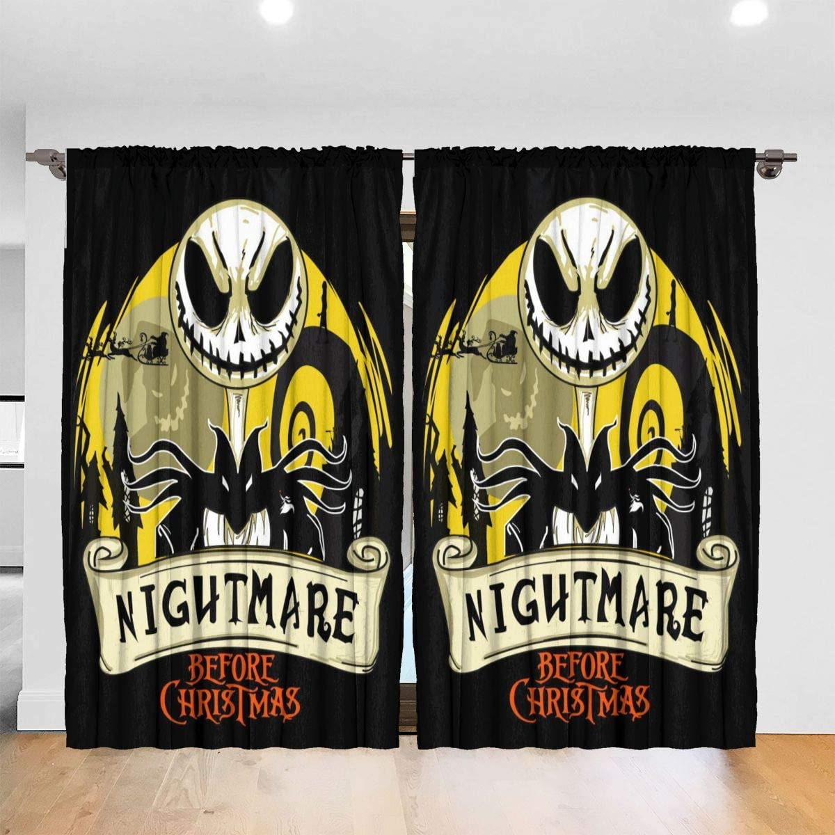 MoralesL-HOME The Nightmare Before Christmas Grommet Top Curtains for Living Room Bedroom Window Treatment Curtain Draperies -52 x 72 inch,2 Panel