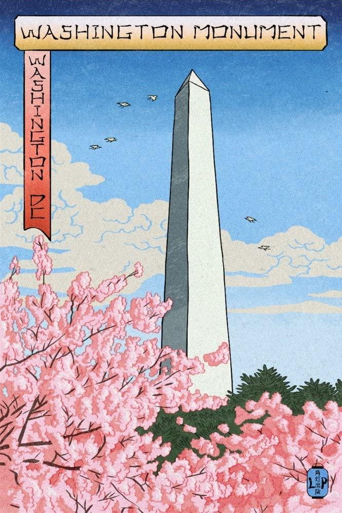 Washington, DC - Washington Monument - Cherry Blossoms (#3) - Woodblock (9x12 Art Print, Wall Decor Travel Poster)