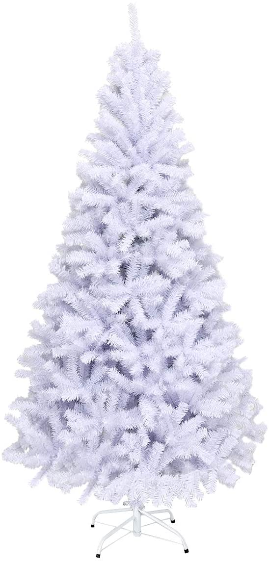 Goplus White Artificial Christmas Tree, 6ft Premium Unlit Hinged Spruce Full Tree, with Metal Stand, Easy Assembly, for Indoor and Outdoor Use